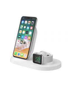 Base carga iPhone XS/XR/X + Apple Watch inalámbrica Blanca BOOST UP + puerto USB-A