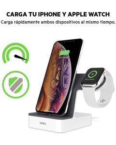 Base carga Apple Watch y iPhone XS XS Max XR X 8 8 Plus Caja Abierta