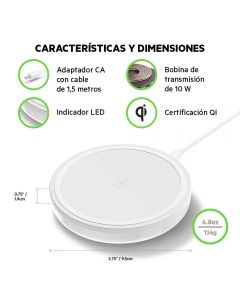 Base Carga Inalambrica Qi 10W para movil Qi Boost Up EMBALAJE ABIERTO Blanco