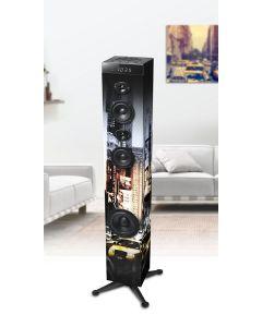 Torre Sonido 2.1 80W Bluetooth y NFC MUSE M-1280 NY con radio, alarma y USB Caja Abierta