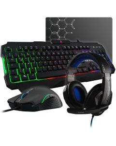 G-LAB Combo Argon 4 en 1 Teclado Raton Auriculares y Alfombrilla ESP Iluminado 3200 dpi PC PS4 Xbox One