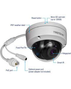 Camara IP vigilancia DOMO TRENDnet TV-IP315PI x4MP aliment PoE IP66 30m
