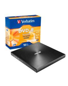 Grabadora Externa Asus ZenDrive USB-C / USB-A 8x +10 discos DVD-R Verbatim ADV AZO