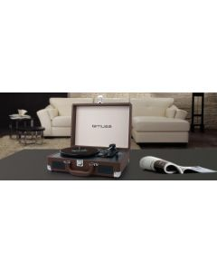 tocadiscos maleta Muse MT-100 BR 3 velocidades 2 altavoces USB